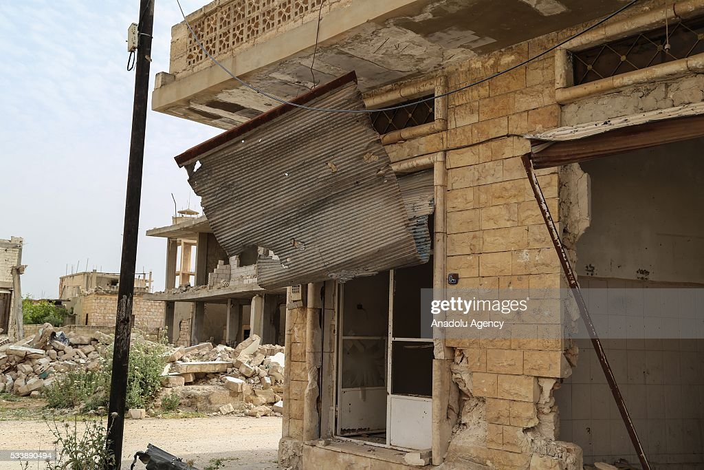 Heavily damaged buildings are seen seen in Kafr Zita Town of Hama, Syria on May 24, 2016. Assad regime forces had been hitting the town since 2012 continuously. Most of the residents fled from attacks and left the collapsed town.