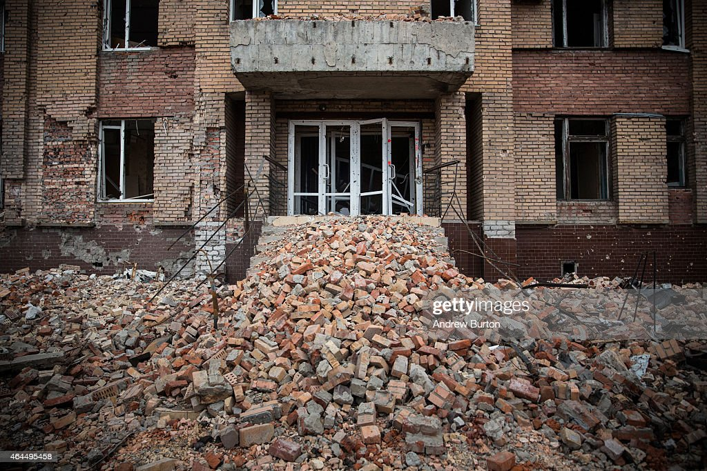 A heavily damaged hotel is seen near the Donetsk airport on February 26 2015 in Donetsk Ukraine The Donetsk airport has been one of the most heavily...