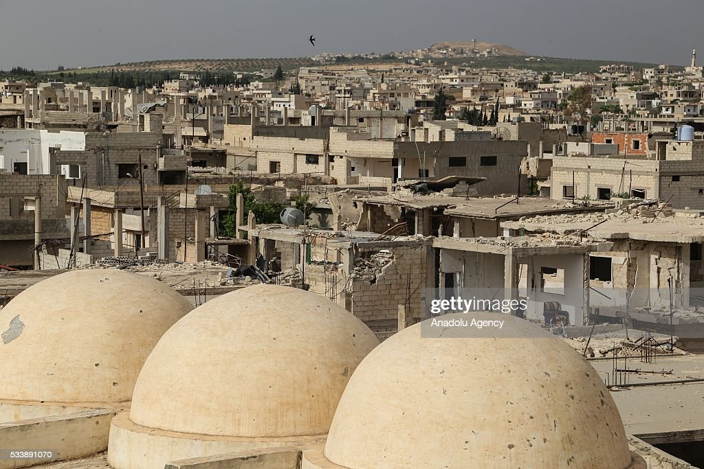 Heavily damaged mosque is seen seen in Kafr Zita Town of Hama, Syria on May 24, 2016. Assad regime forces had been hitting the town since 2012 continuously. Most of the residents fled from attacks and left the collapsed town.