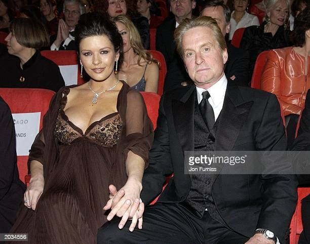 Heavily pregnant Catherine ZetaJones and husband Michael Douglas attend a screening of her new film Chicago on the opening night of the Berlin Film...