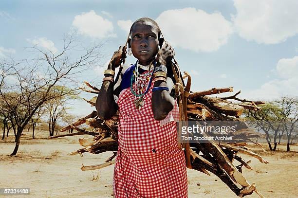 Heavily pregnant Nolmaai Ngorisa collecting firewood in the Malambo district of Ngorongoro The region of Ngorongoro in Tanzania is one of Africa's...