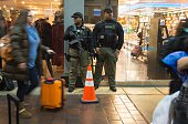 Heavilyarmed police stand guard in Union Station in Washington DC November 24 2015 After a string of terror attacks in several countries the US...