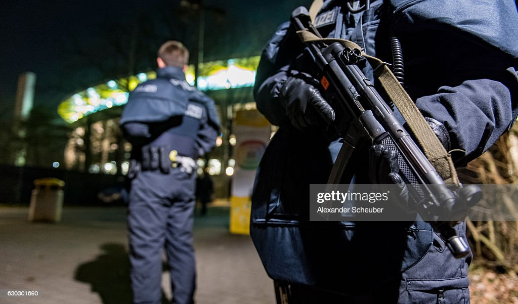 Heavy armed police officers are seen prior to the Bundesliga match between Eintracht Frankfurt and 1. FSV Mainz 05 at Commerzbank-Arena on December 20, 2016 in Frankfurt am Main, Germany.