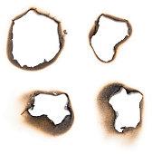 Heavy burn marks around holes