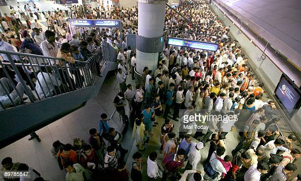Heavy crowd and chaos at Rajiv Chowk station as Metro trains were running late A Metro train with 34 commuters on board derailed barely 15 metres off...