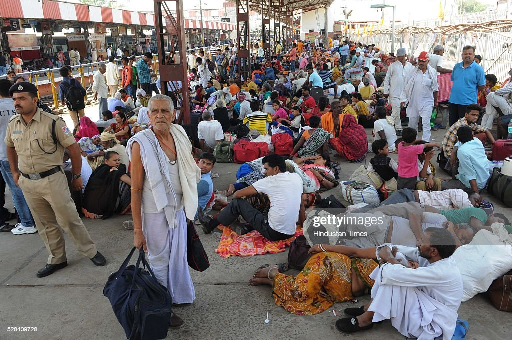 Heavy crowd turned out at Bhopal Railway Station to visit Simhastha Kumbh Mela in Ujjain, Madhya Pradesh, as they are waiting for the special train which is being run between Bhopal and Ujjain, on May 4, 2016 in Bhopal, India. The month-long Simhastha Kumbh Mela, largest congregation of Hindus began in Ujjain with the arrival of Juna Akhara for the royal bath on the banks of Kshipra river for the holy dip. A large number of people from different corners of the country have converged in the holy city for the Simhastha Mela, held every 12 years at Ujjain, which is also the abode of Lord Mahakaleshwar, one of the 12 Jyotirlings in the country.