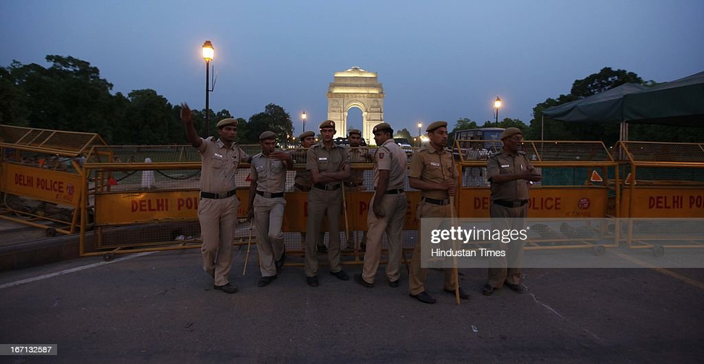 Heavy deployment of Delhi Police and BSF personnel as Rajpath and India gate are kept out of bound for public to stop protesters of Gandhi Nagar Rape from reaching here on April 21, 2013 in New Delhi, India. A five year girl went missing on April 15 and was found on April 17 in same building where she lives with her parents in Gandhi Nagar. She was found in serious condition after being brutally raped and tortured with slashed neck and bite marks on her body. The man who lives in that room was arrested in Bihar state on April 20.