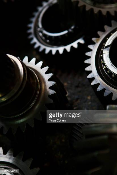 Heavy duty metal cogs at a spare parts shop in the Talad Noi area of Chinatown in Bangkok