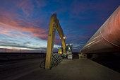 Heavy equipment beside pipeline