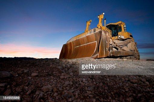 Heavy Equipment Bulldozer at Sunset