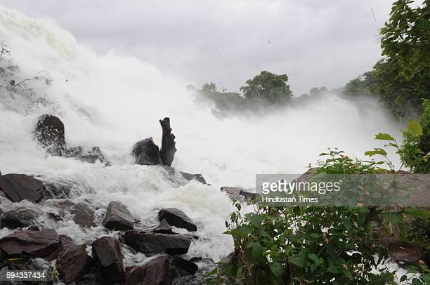 Heavy flow of water created a waterfall at Halali Dam some 55KM away from Bhopal after the three sluice gates of the dam opened on August 22 2016 in...