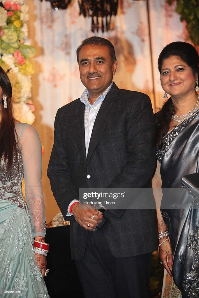 Heavy Industry Minister Praful Patel and NCP leader Praful Patel during the wedding reception of Ahana Deol and Vaibhav Vohra on February 5, 2014 in New Delhi, India. Ahana, a budding Odissi dancer, is the daughter of Bollywood stars Dharmendra and Hema Malini while Vaibhav in an Indian businessman. They married on February 2, 2014 in Mumbai.