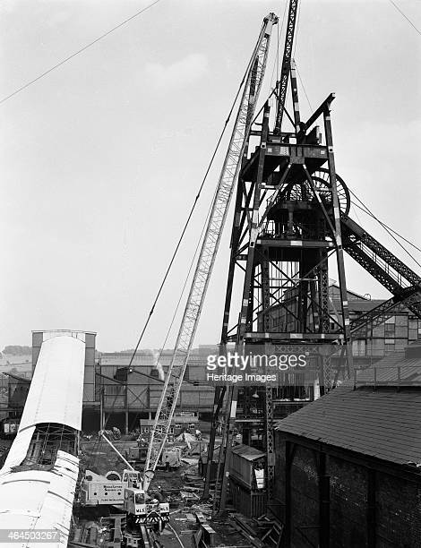 Heavy lifting gear at Hickleton Main pit Thurnscoe South Yorkshire 1961 A Cole's Crane operated by Mobile Lifting Services was brought in to lift...