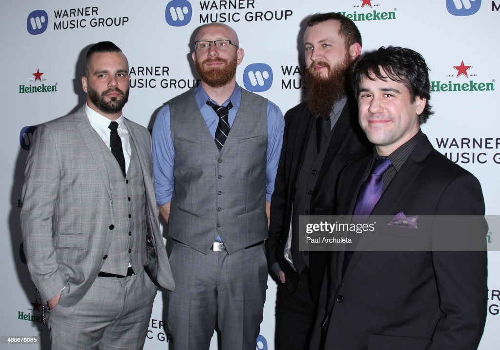 Heavy Metal Band <a gi-track='captionPersonalityLinkClicked' href=/galleries/search?phrase=Killswitch+Engage&family=editorial&specificpeople=2286217 ng-click='$event.stopPropagation()'>Killswitch Engage</a> attends the Warner Music Group annual Grammy celebration at the Sunset Tower on January 26, 2014 in West Hollywood, California.