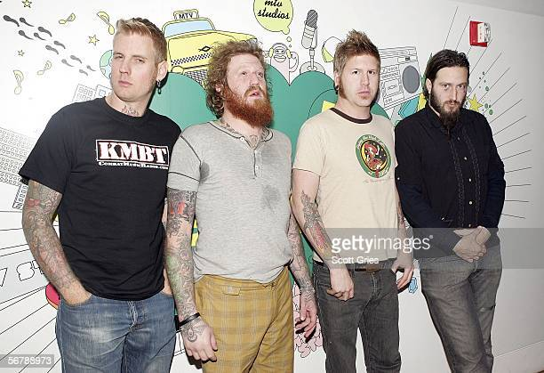 Heavy metal band Mastodon poses for a photo following a taping of 'Headbangers Ball' for MTV2 at the MTV Times Square Studios on February 8 2006 in...