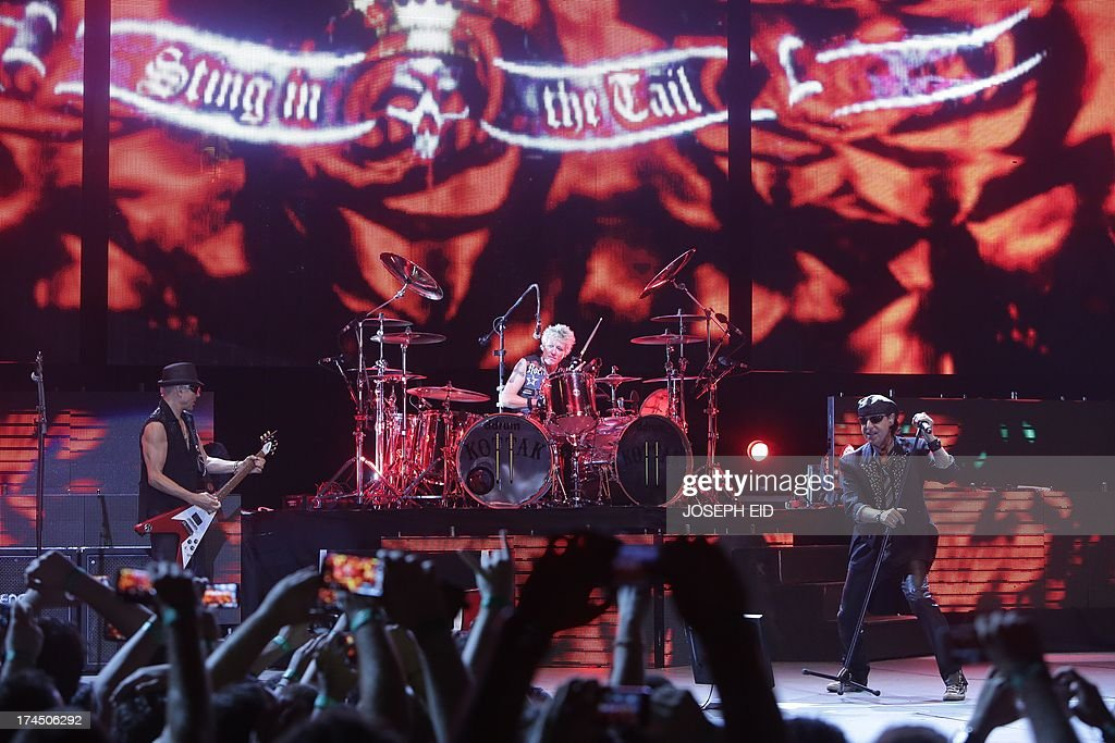 Heavy metal band Scorpions perform on stage during a concert as part of the Byblos music festival in the coastal town of Byblos north of Beirut late...