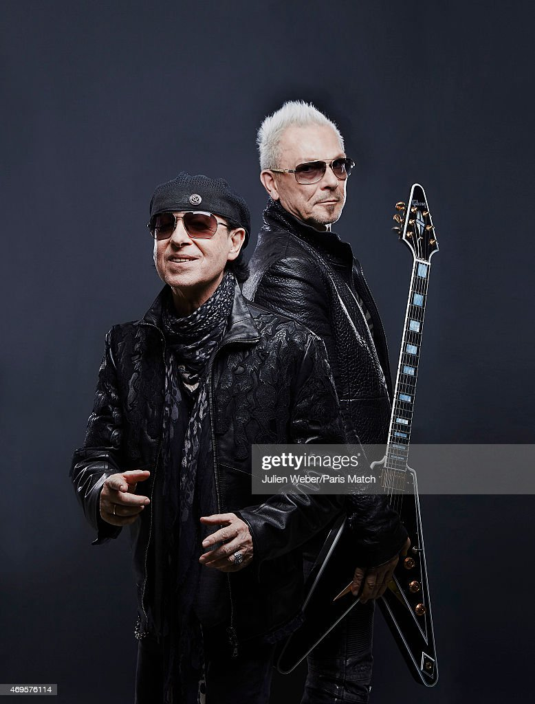 Heavy metal band The Scorpians with singer <a gi-track='captionPersonalityLinkClicked' href=/galleries/search?phrase=Klaus+Meine&family=editorial&specificpeople=240345 ng-click='$event.stopPropagation()'>Klaus Meine</a> and the guitarist <a gi-track='captionPersonalityLinkClicked' href=/galleries/search?phrase=Rudolf+Schenker&family=editorial&specificpeople=710263 ng-click='$event.stopPropagation()'>Rudolf Schenker</a> are photographed for Paris Match on February 9, 2015 in Paris, France.