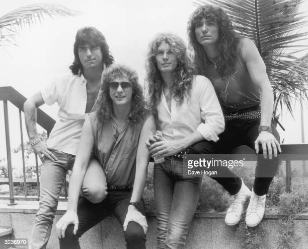 Heavy metal band Whitesnake in Rio de Janeiro 24th January 1985 From left to right Cozy Powell Neil Murray John Sykes and David Coverdale