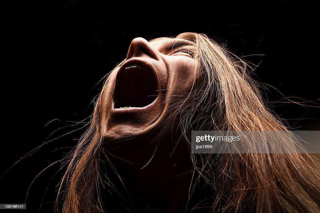 Heavy metal man screaming : Stock Photo