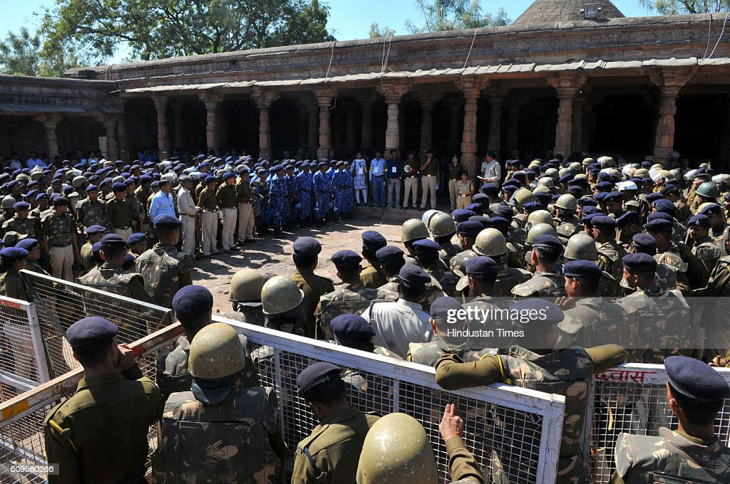 Heavy police forces deployed at Bhojshala premises on February 11, 2016 in Dhar, India. A communal flare-up is feared in the otherwise peaceful town of Dhar, Madhya Pradesh, on Friday, February 12. The contested site is the Kamal-al-Din congregational mosque of Dhar, protected by the Archaeolgical Survey of India, which allows Muslims to offer jummah or Friday prayers. Hindus are allowed entry in the monument to offer prayers on Tuesdays and conduct a special puja on the occasion of Basant Panchami. This week, however, the Friday prayers coincide with the festival of Basant Panchami.