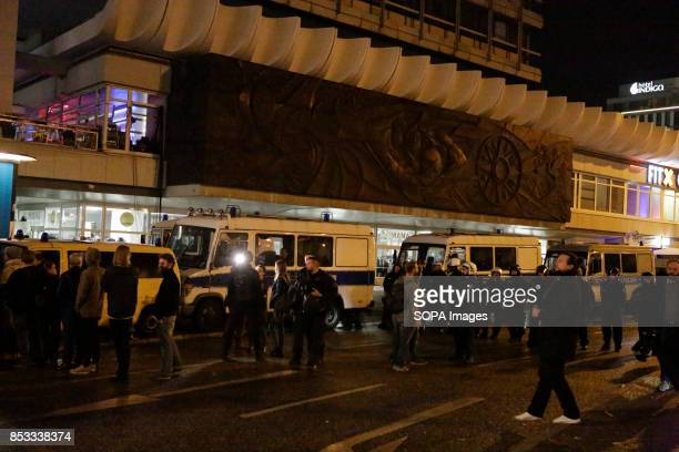 A heavy police presence has surrounded the election night party venue Hundreds of protesters gathered outside a club near the central Alexanderplatz...