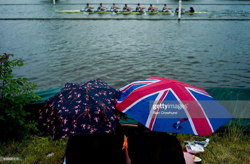 Heavy rain falls during the Henley Royal Regatta on June 29, 2016 in Henley-on-Thames, England.