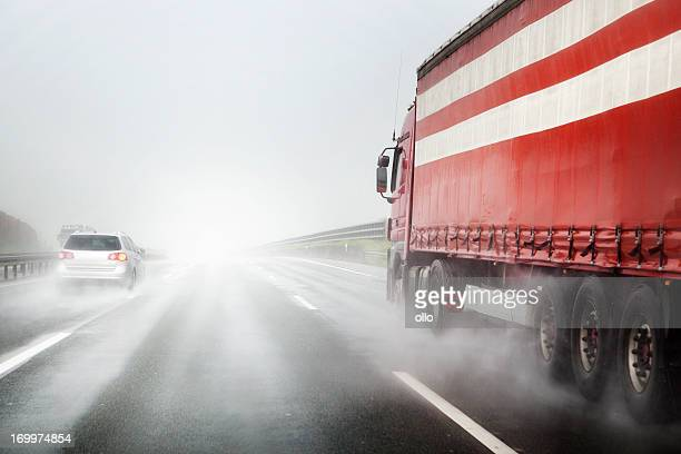 Heavy rain on the highway