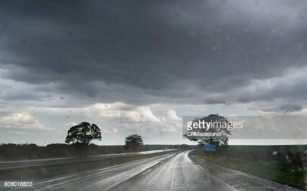 Heavy rain on the highway.