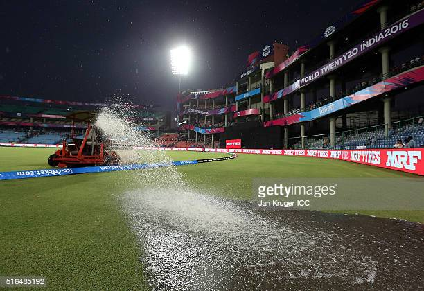 Heavy rain stops play during the Women's ICC World Twenty20 India 2016 match between India and Pakistan at Feroz Shah Kotla Ground on March 19 2016...