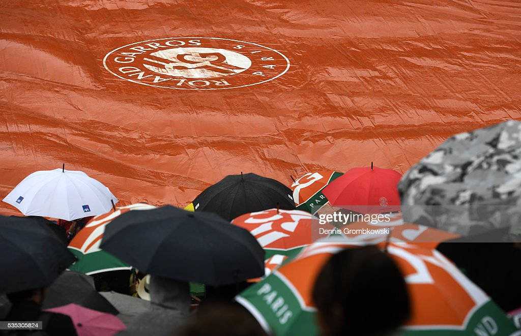 Heavy rain stops play on day eight of the 2016 French Open at Roland Garros on May 29, 2016 in Paris, France.