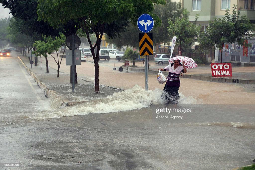 Heavy rainfall affects the life negatively in Cukurova district of southern city Adana Turkey on June 7 2014 Basement floors are flooded cars are...