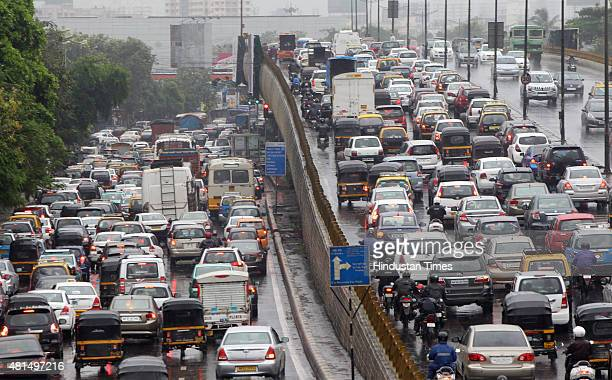 Heavy rains in Mumbai have caused heavy traffic jam at Western express highway on July 21 2015 in Mumbai India Heavy rains after the month long dry...