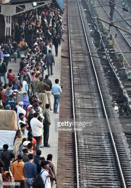 Heavy rush at New Delhi Railway Station after the trains delay due to the fog on February 1 2017 in New Delhi India The first Union Budget comprising...
