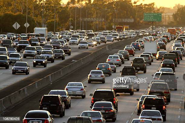 Interstate 10 stock photos and pictures getty images heavy rush hour traffic fills the interstate 10 in los angeles california us on friday jan sciox Choice Image