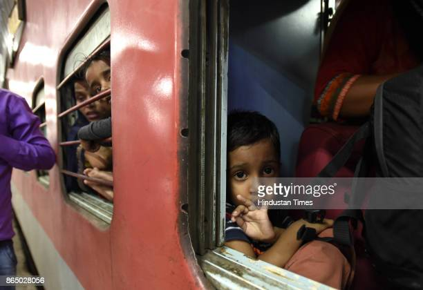 Heavy rush inside the 12394 Sampoorn Kranti Express train which runs from New Delhi to Patna who wanted to go to their native place for the Chhath...
