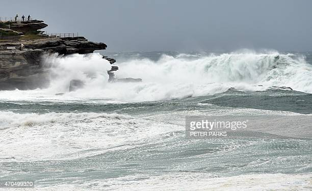 Heavy seas are whipped up by strong winds at Bondi Beach in Sydney on April 21 2015 Three people died as Sydney and surrounding areas were lashed by...
