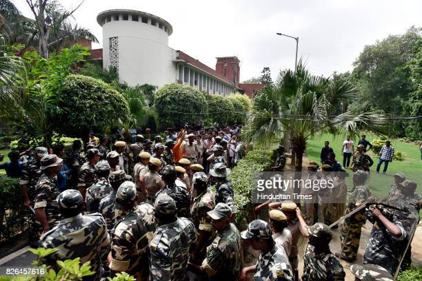 Heavy security deployed at DU north campus during the Harmony Shall Win march by left wing organization AISA against the allegedly growing number of...