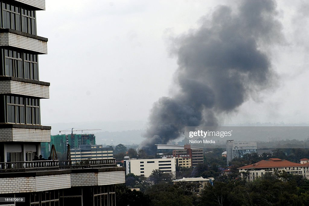 Heavy smoke is seen from the site of the terrorist attack Westgate Mall on September 23 2013 in Nairobi Kenya The attack occurred on Saturday 1015...