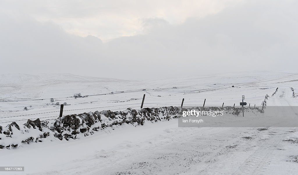 Heavy snow covers the fells between Kirkby Stephen in Cumbria and Bowes in County Durham on March 27, 2013 near Kirkby Stephen, England. Heavy snow continues to fall in some parts of the country as Britain suffers the coldest March in 50 years.