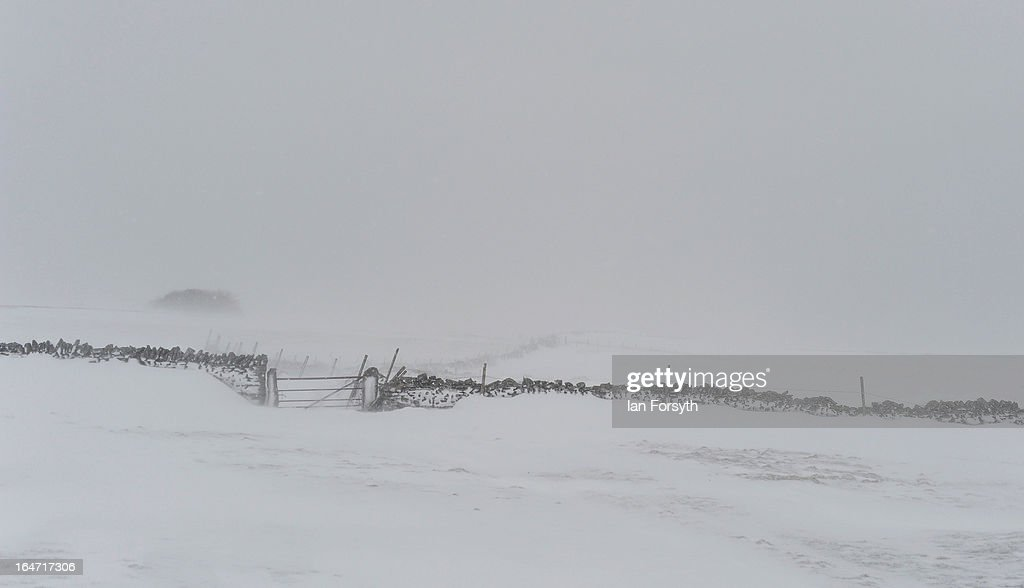 Heavy snow covers the fells between Kirkby Stephen in Cumbria and Bowes in County Durham on March 27, 2013 in Kirkby Stephen, England. Heavy snow continues to fall in some parts of the country as Britain suffers the coldest March in 50 years.