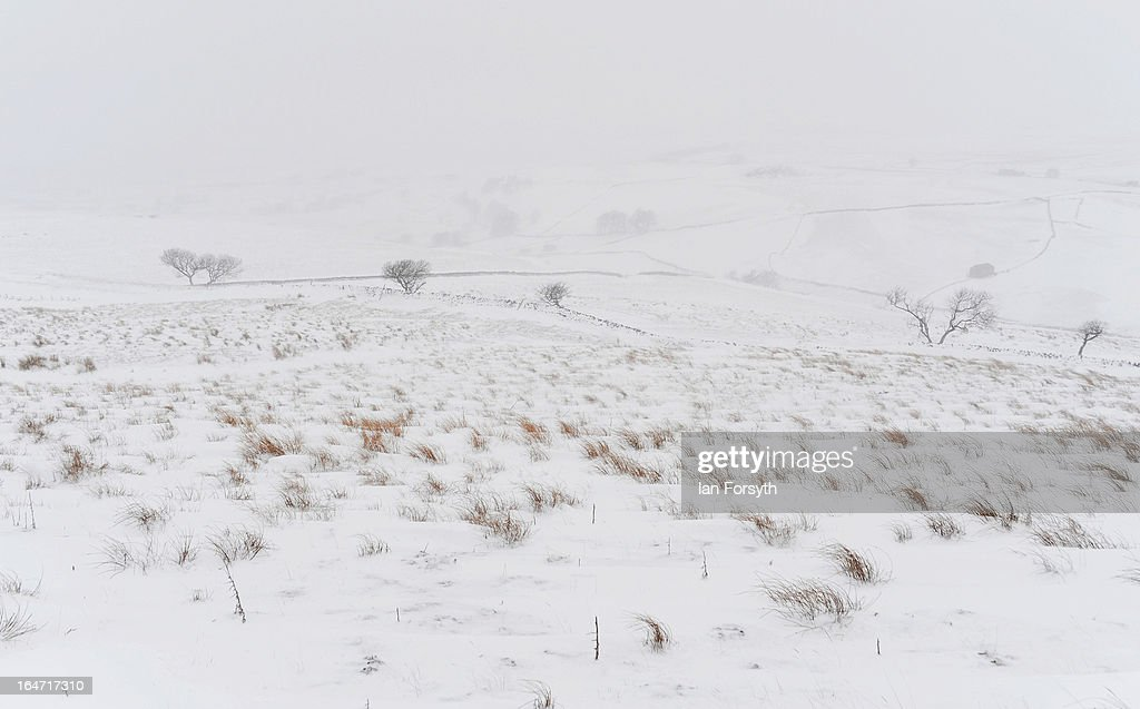 Heavy snow covers the fells near to Kirkby Stephen in Cumbria on March 27, 2013 in Kirkby Stephen, England. Heavy snow continues to fall in some parts of the country as Britain suffers the coldest March in 50 years.