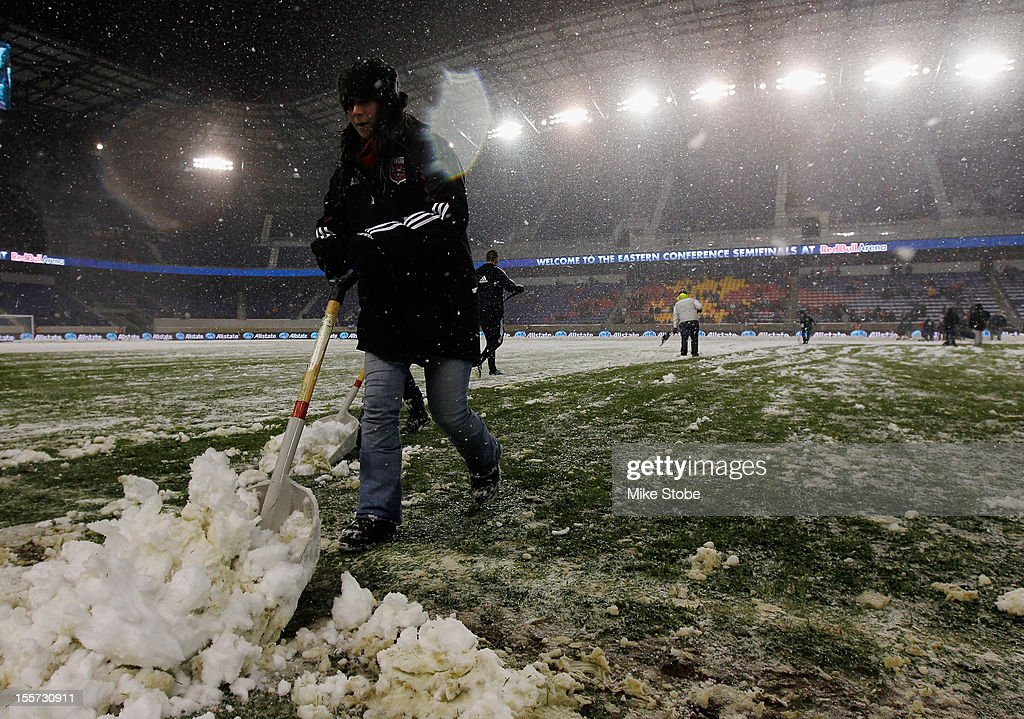 Heavy snow falls at Red Bull Arena prior to the Eastern Conference Semifinal match between DC United and the New York Red Bulls at Red Bull Arena on November 7, 2012 in Harrison, New Jersey.