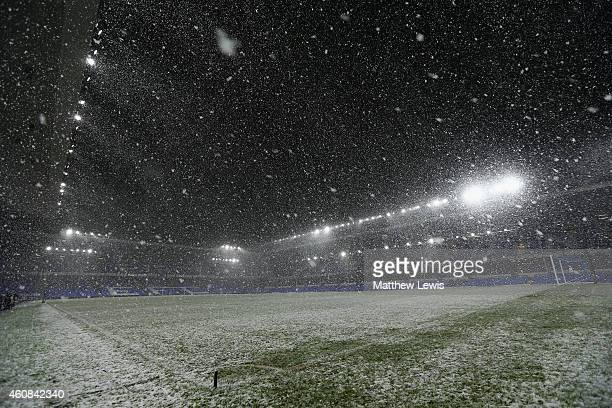 Heavy snow falls the Barclays Premier League match between Everton and Stoke City at Goodison Park on December 26 2014 in Liverpool England