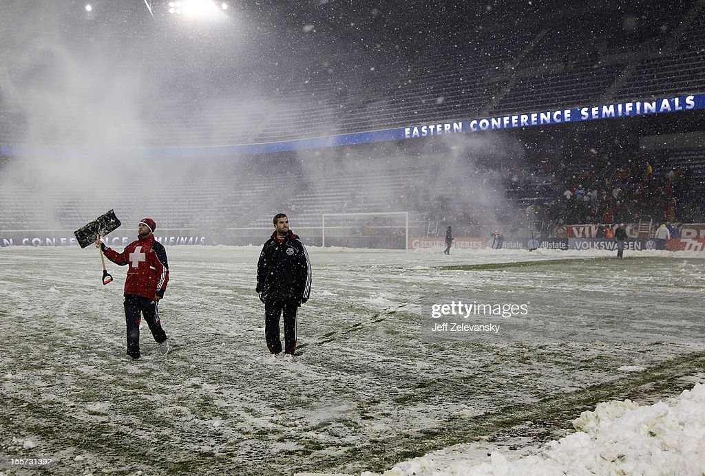 Heavy snow forced the postponement of the Eastern Conference Semifinal match between D.C. United and the New York Red Bulls at Red Bull Arena on November 7, 2012 in Harrison, New Jersey.