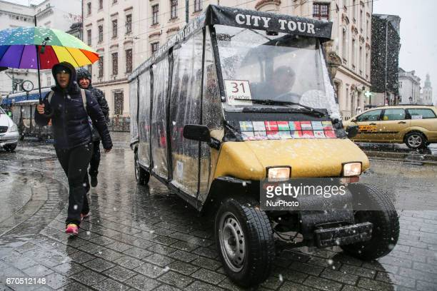Heavy snow in spring time in Krakow Poland on 19 April 2017