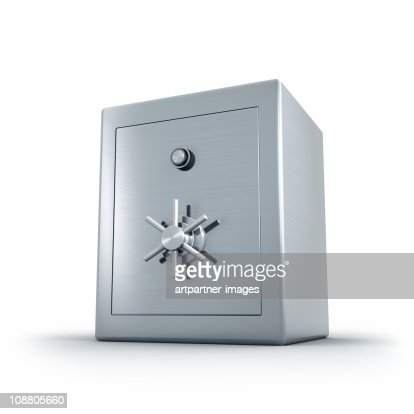 Heavy Steel Bank Safe on White Background