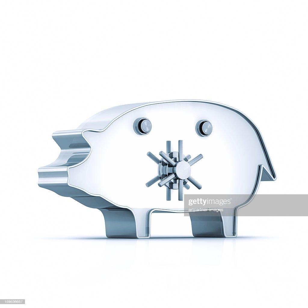 Heavy Steel Safe door on a piggy bank : Stock Photo