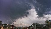 Heavy thunderstorms over residential neighborhood in USA