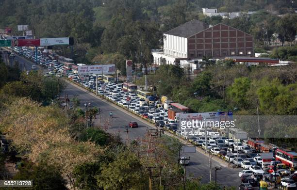 Heavy traffic at the UPDelhi border NH24 for security check due to Jat agitation on March 19 2017 in New Delhi India The community is planning to...