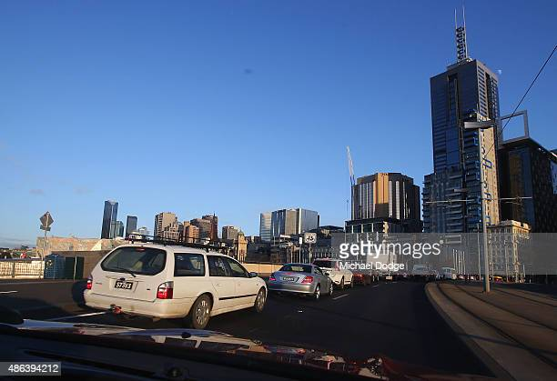 Heavy traffic builds up before the train strike takes place on September 4 2015 in Melbourne Australia The strike over pay and conditions by Rail...